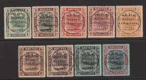 BRUNEI : 1922 Malaya-Borneo set 1c-$1, all stamps with variety 'broken N'.