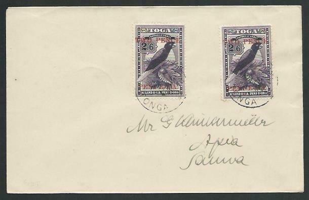 TONGA 1924 cover to Samoa - 2d on 2/6d Bird (2) ex VAVAU...................13300