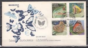 Brazil, Scott cat. 1620-1623. Brasiliana Stamp Expo. Moths. First day cover.