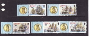 Jersey-Sc#1190-4-unused NH set with related theme on selvedge-Ships-Battle of Tr