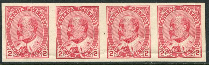 CANADA #90a VF Never Hinged Imperf Strip of 4 Gum Bend - King Edward VII - S7981