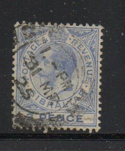 Gibraltar Sc 81 1921 3d ultra George V stamp used