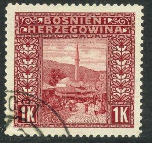 BOSNIA AND HERZEGOVINA 1906 1K Mosque P. 12 1/2 Sc 43 VFU