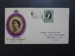 Mauritius 1953 QEII Coronation Cover to USA / Light Edge Creasing - Z8388
