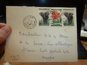 Ivory Coast 10F Elephant x 2 + 5F flower on 1963 cover Sinfra (17beg)