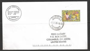 1995 Paquebot Cover, Liberia stamp used in Durban, South Africa