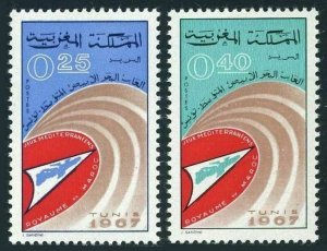 Morocco 161-162,MNH.Michel 590-591. Mediterranean Games,Tunis,1967.Map.