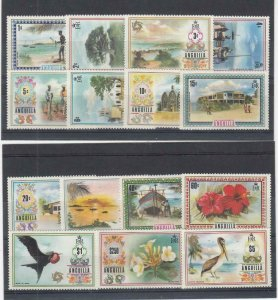 ANGUILLA (MM140) # 145-159 VF-MLH  VARc,$ 1972-75  ISLAND SCENES CAT VALUE $45