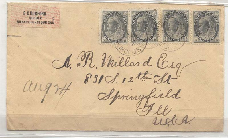 Canada #74 *4 one cover to US 1900 (cover letter)