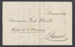 Italy, ca. 1839 Stampless Mourning SFL to Rome, Forwarding Agent TORLONIA & Co.