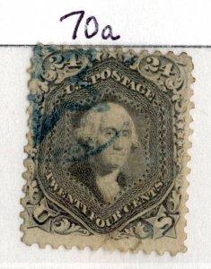 USA  Scott #70a, 1861, 24c brn lil, Washington, Used