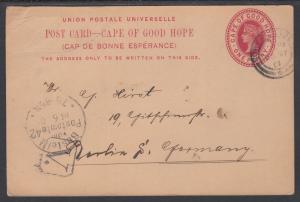 Cape of Good Hope H&G 15 used 1901 1p Postal Card, PORT ELIZABETH to BERLIN