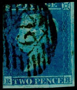 SG14, 2d blue, USED. Cat £85. RH