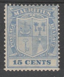 MAURITIUS 1910 ARMS 15C WMK MULTI CROWN CA