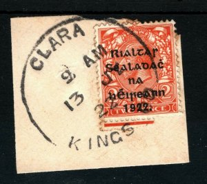 IRELAND 1922 Free State Overprints EIRE *CLARA KINGS CO* Rubber CDS Piece MA334
