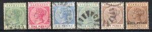 Barbados 1882-5 SC 60a, 61-2, 64-5, 69, F-VF U cat$18.80