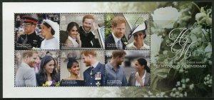 Jersey 2019 MNH Prince Harry & Meghan 1st Wedding Anniv 6v M/S Royalty Stamps