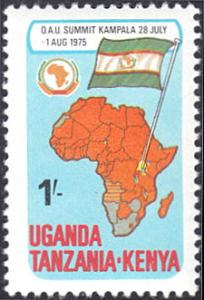 Kenya-Uganda-Tanzania # 309 mnh ~ 1sh Map of OAU Members, Flag