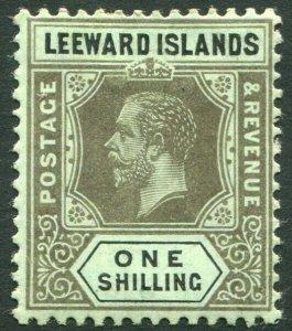 LEEWARD ISLANDS-1917 1/- Black/Blue-Green (Olive Back) Sg 54b MOUNTED MINT