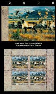 NORTHWEST TERR #4M 2000 CARIBOU CONSERVATION STAMP MINI SHEET OF 4 IN FOLDER