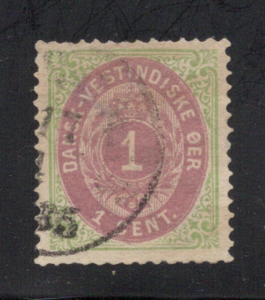 Danish West Indies #5a Green & Rose Lilac - Used