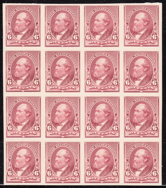 #224P4 PLATE PROOF ON CARD BLOCK OF 16 -- SUPERB -- HV5661