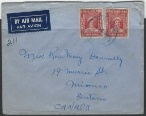 CANADA - NEWFOUNDLAND AVALON FLEET MAIL OFFICE NO. 2 1945 COVER TO MIMICO, ON