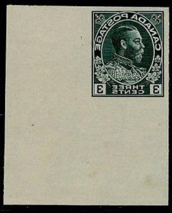CANADA - 1928 KGV 3c Admiral IMPERF ENLARGED & REVERSED in  Green on thin card.