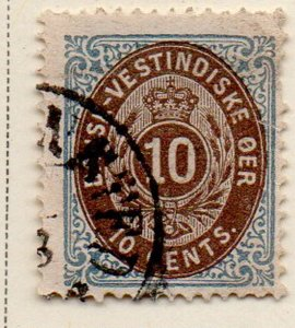 Danish West Indies Sc 10  1876 10c blue & brown stamp used
