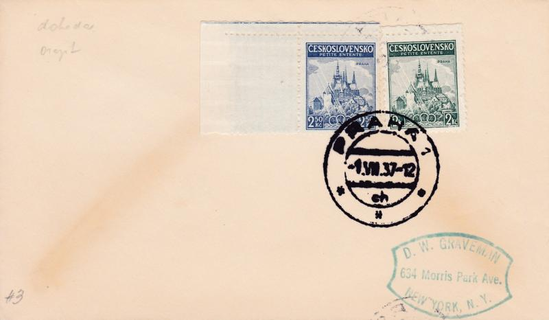 Czechoslovakia 1937 Little Entente (2) on First Day Cover  to New York VF