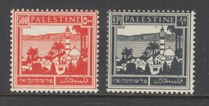 Palestine Sc 83, 84 MLH. 1942 500m & £1 Tiberias & Sea of Galilee definitives