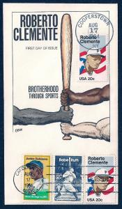 UNITED STATES FDC 20¢ Clemente DUAL COMBO 1984 Collins H-P