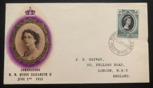 1953 Pitcairn Islands First Day Cover QE2 Queen Elizabeth coronation FDC To Uk