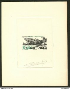 Togo PA19 Bicolored Artist signed die proof . 1947 Aviation Plane