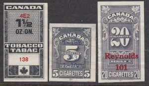 CANADA 3 Tobacco or Cigarette Tax stamps used...............................D906