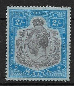 MALTA SG103f 1922 PURPLE & BLUE ON BLUE BROKEN LEAF VAR MTD MINT