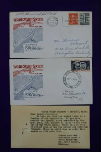 Wayne Stamp Society Exhibition Detroit MI 25 Yrs SS In America 1960 Cachet Cover