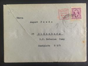 1946 Meerbeck Germany Displaced Person DP Camp Cover to Oldenburg Estonian Camps