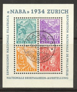 Switzerland, 1934 NABA Stamp Exhibit Souvenir Sheet, used , no faults