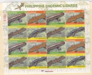 Philippines: Sc #3387-3388, S/S, Lizards, MNH (Sc18910)