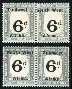 South West Africa 6d Post Due Re-joined Pair Large value shift m/m