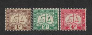 Hong Kong Scott # J1-J3 F-VF OG with nice color scv $ 95 ! see pic !