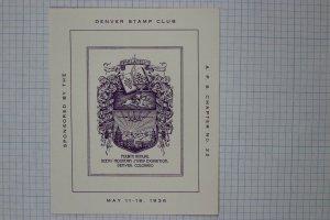 Denver Stamp Club 1936 Rocky Mountain APS Exhibition Philately Souvenir ad label