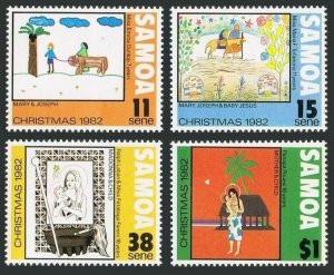 Samoa 583-586,586a,MNH.Michel 490-493,Bl.29. Christmas 1982.Child drawings.