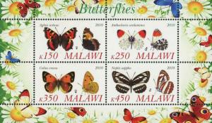 Malawi Butterfly Insect Nature Flower Souvenir Sheet of 4 Stamps Mint NH