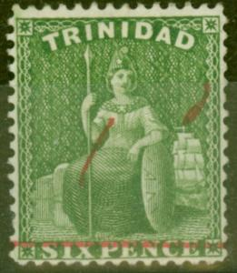 Trinidad 1882 1d on 6d SG104 Fine & Fresh Mtd Mint