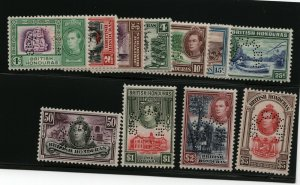British Honduras SG #150s / #161s Very Fine Never Hinged With Curved Perforated