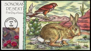 Collins Handpainted FDC Sonoran Desert: Desert Cottontail rabbit (4/6/1999)
