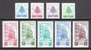 LEBANON — SCOTT 266-274 — 1953 CEDAR & BUILDING SET — MH — SCV $51