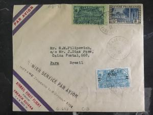 1931 French Guiana FFC First Flight Cover FAM 10 To Brazil